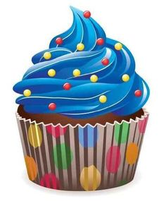"""Vector Blue Cupcake with Sprinkles - 24""""H x 20""""W - Peel and Stick Wall Decal by Wallmonkeys by Wallmonkeys Wall Decals, http://www.amazon.com/dp/B005OWNL9G/ref=cm_sw_r_pi_dp_3kDmrb1VCGB39"""
