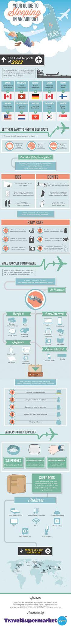 Guía para dormir en un aeropuerto #infografia #infographic #tourism | TICs y Formación