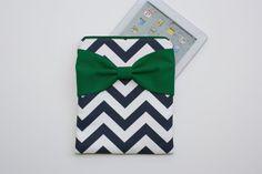 iPad Case / Tablet Sleeve - Navy and White Chevron Kelly Green Bow