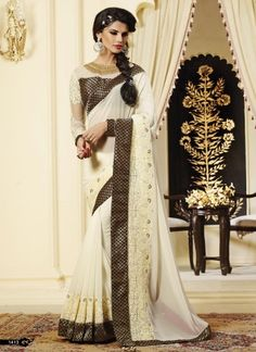 Beautiful Beige Georgette Heavy Embroidery Work Designer Party Wear Sarees