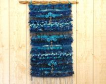 """Home decor Handwoven tapestry  """"Blue Gipsy"""" wall hanging weaving with roses and vintage pampilles style blue cottage gypsy cosy"""