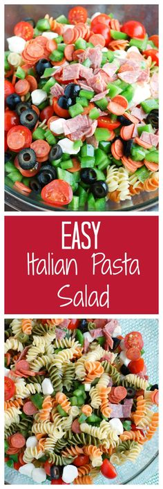 Easy Italian Pasta Salad with Pepperoni | http://www.foodlovinfamily.com/easy-italian-pasta-salad-pepperoni/Easy Italian Pasta Salad with pepperoni is quick and easy to make but always a big hit! A sure crowd favorite!