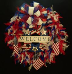 Memorial, Veterans, or Labor Day, Red White and Blue, Patriotic Wreath, Boa Wreath - Item 270