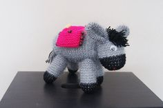 Hand Knitted Toy Donkey, soft toy, washable, stuffed toy, child friendly, childrens, knitted animal for baby or child