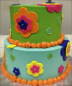 A nice bright and colorful birthday cake