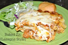Baked Ziti {Lasagna Style} Super easy and delicious family meal. #recipe #dinner