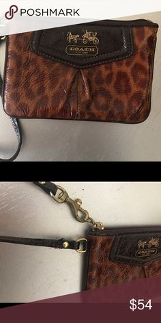 Leopard Patent Leather Coach Wristlet Very gently loved patent leather Coach wristlet. Only very minimal flaw is very slight wear at the base of wristlet strap. I love this and would keep but I have too many! Coach Bags Clutches & Wristlets