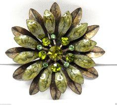 Vintage Enamelled Green Flower Brooch by ThatsSoVintageDarlin