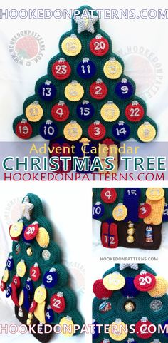 Crochet Christmas Tree Advent Calendar Pattern from Hooked On Patterns. Create the ultimate Christmas  countdown with this festive crochet pattern.