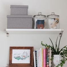 Looking for a stylish storage solution? Open shelves are a great way to turn an unused section of your wall into a place to display and store items. Click through to read more about my office nook and how I have maximized efficiency in this corner of my living room! Family Room, Home And Family, Organisation Hacks, Office Nook, Bright Rooms, Best Desk, Home Alone, Desk With Drawers, Room Pictures