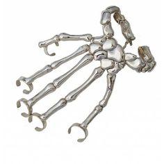 Bernard Delettrez Silver Skeleton Hand Full Hand Cuff Bracelet ($3,103) ❤ liked on Polyvore featuring jewelry, bracelets, silver, bernard delettrez, adjustable cuff bracelet, silver cuff bracelet, cuff bangle bracelet and silver bangles