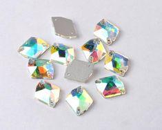 13*18mm AB Crystal Drop Acrylic Flatback Rhinestones Sew on 2 Hole ZZ194