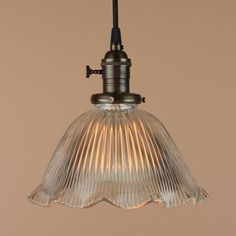 Pendant Light - Large Ruffled Holophane Glass Shade - Antique Reproduction Wire - Oil Rubbed Bronze Finish. $138.00, via Etsy.