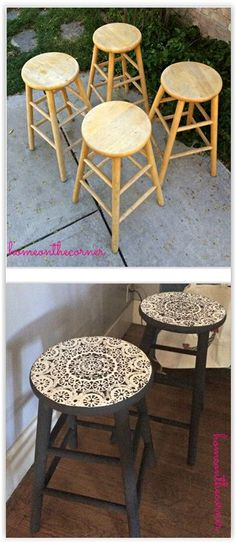 Lacey barstools made with a doily stencil painted with chalk paint a lace doily diy barstool chair doily stencil paint chalkpaint stain furniture decor crafts cheap cabinet into nice bench Refurbished Furniture, Paint Furniture, Repurposed Furniture, Furniture Projects, Furniture Makeover, Vintage Furniture, Furniture Stores, Diy Furniture Upcycle, Furniture Dolly