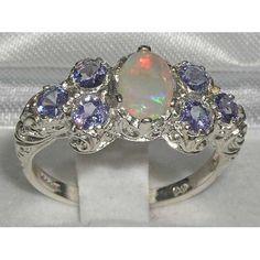 Beautiful engagement or promise ring! Luxury Genuine Opal & Tanzanite Solid English 925 by GemsofLondon