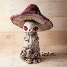 READY TO SHIP Deadly Mushroom art figure polymer clay