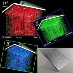 12 Inch Ceiling Mount Square Rainfall LED Shower Head, Stainless Steel with Chrome Finish