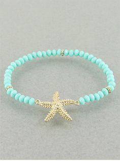 Mint Starfish Bracelet   from P.S. I Love You More. Shop online at: psiloveyoumore.storenvy.com