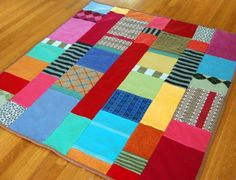 cool and colorful blanket made from recycled sweaters