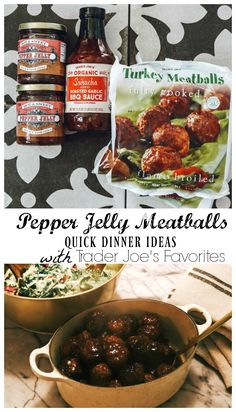Quick Healthy Dinners- Favorite Things from Trader Joe's - Nesting With Grace Trader Joe's Favorite Dinner Ideas- Pepper Jelly Meatballs Trader Joe's, Trader Joes Food, Trader Joe Meals, Trader Joes Turkey Meatballs, Jelly Meatballs, Sauce Pour Porc, Paleo Recipes, Paleo Ideas, Quick Recipes