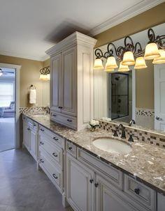 master bathroom...marble countertop, rustic cabinets?