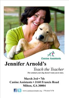 Registration is open For Jennifer Arnold's Teach the Teacher! Don't miss this opportunity to be among the first outside the Canine Assistants family to learn this revolutionary approach to teaching dogs. http://bit.ly/jateacher