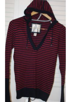 American Eagle Outfitters Blue & Magenta Stripe Top with Hood *Free Shipping* $9.00