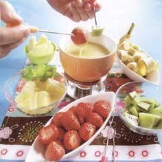 Witte chocolade fondue met fruit