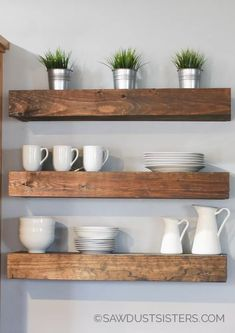 7 Talented Clever Tips: Floating Shelves Diy Video floating shelf tv stand furniture.Floating Shelves Layout Sofas floating shelves bathroom with rope.Floating Shelf Under Mounted Tv Shelves. Floating Shelf With Drawer, Floating Shelves Bathroom, Building Floating Shelves, Modern Floating Shelves, Floating Cabinets, Rustic Floating Shelves, Floating House, White Cabinets, Diy Wand