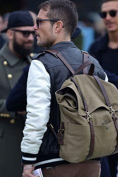 leather varsity jacket + backpack