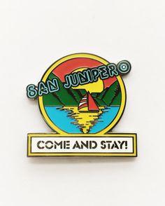San Junipero Black Mirror Come and Stay! Enamel Pin 1.75 inch // double pin back // Hard enamel // Hat pin // Lapel pin // Black Mirror, Blackmirror, Sanjunipero, San Junipero LGBT, gay, 80s, TV, Netflix
