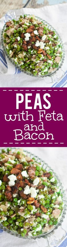 Feta Bacon Peas Recipe - Peas cooked with salty crunchy bacon then tossed with tangy, creamy Feta cheese for a delightful, unique side dish. Make this Feta Bacon Peas quick and easy side dish recipe in just 20 minutes! Veg Dishes, Dinner Dishes, Side Dishes Easy, Vegetable Dishes, Vegetable Salad Recipes, Pea Recipes, Side Dish Recipes, Sweets Recipes, Veggie Delight