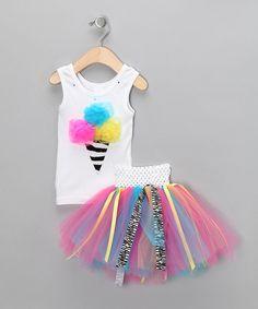 Zebra Ice Cream Tank & Tutu - Infant, Toddler & Girls