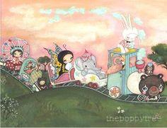 Carnival Art Train Print Pink Elephant Rabbit Giraffe Ferris Wheel Girl Wall Art---The Carnival Train on Etsy, $18.00