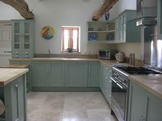 Modern Country Style: Paint Colour Study: Farrow and Ball Green Blue Click through for details. Blue Green Kitchen, Green Kitchen Cabinets, Blue Cabinets, Custom Kitchen Cabinets, Kitchen Paint, Kitchen Island, Farrow And Ball Kitchen, Farrow And Ball Paint, Interior Design Colleges