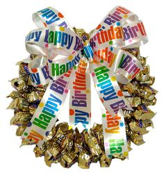 Birthday Snickers Candy Wreath :: Candy Wreaths :: A Bountiful Harvest Birthday Candy, Birthday Gifts, Birthday Wreaths, Happy Birthday, Gift Bouquet, Candy Bouquet, Candy Bar Cards, Chocolates, Candy Arrangements