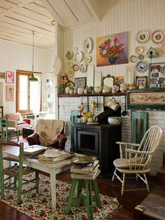 Plates & Paintings on Wall, Windsor chair love...