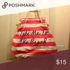 Victoria's Secret Beach Bag Pink and White Striped Victoria's Secret Beach Bag, in good condition Victoria's Secret Bags Totes