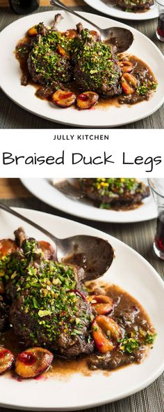 Braised Duck Legs With Plums and Red Wine Duck Leg Recipes, Roasted Duck Recipes, Jack Food, Braised Duck, Dry Red Wine, Roast Duck, Wine Deals, New Menu, Group Meals