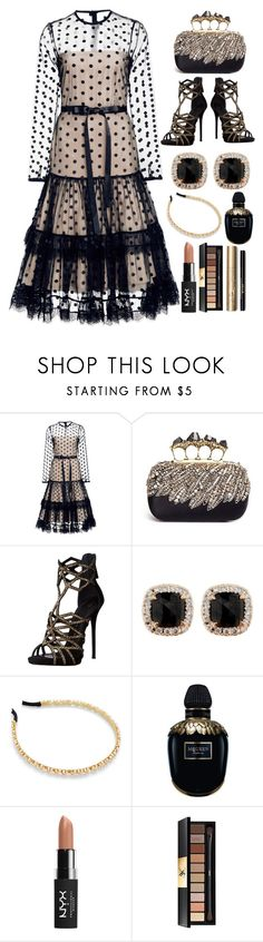 """Alexis Tiara Point D'esprit Dress"" by pulseofthematter ❤ liked on Polyvore featuring Alexis, Alexander McQueen, Giuseppe Zanotti, Jona, NYX, Yves Saint Laurent and Stila"