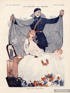 "Sesbouë 1917 ""Une Loge Improvisée"" Topless, Sexy Girl, Making-up"