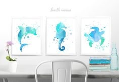 ♥ This set of prints is perfect for that touch of the sea you are looking for. Great for any space and especially calming in a nursery.♥ -------- What will I receive? --------- ____ Prints ___ ★ (3) customized prints on high quality satin poster paper with archival ink (these are not mounted and do not stand on their own. They are intended to be framed) ------------ How do I order? ------------ ♥ Start by choosing the size of your prints with the drop down to the right ♥ Then choose if y...