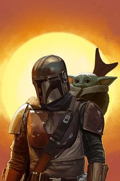The Mandalorian, Mark Hammermeister - The Mandalorian and The Child aka Baby Yoda (Star Wars) Effective pictures we provide you about diy - Star Wars Fan Art, Star Trek, Star Wars Pictures, Star Wars Images, Leonardo Da Vinci Zeichnungen, Yoda Gif, Yoda Images, Foto Magazine, Star Wars Zeichnungen