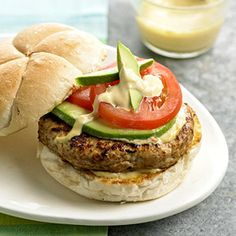 turkey burgers with mustard sauce From Better Homes and Gardens A little honey mustard goes in the burger mixture and in the sauce that tops them in this easy dinner recipe. Turkey Burgers with Mustard Sauce Best Turkey Burgers, Turkey Burger Recipes, Easy Dinner Recipes, Great Recipes, Favorite Recipes, Easy Recipes, Potato Recipes, Cooking Recipes, Healthy Recipes
