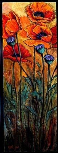 Poppy Garden by Carol Nelson Acrylic ~ 36 x 12 from: carolnelsonfineart.com