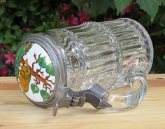 1890s  Antique German Glass Beer Stein with porcelain inlay