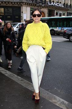 Miroslava Duma in a pop of colour. Yellow and cream. Winter magic.