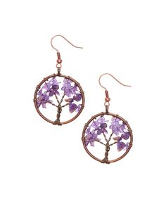 Take a look at this Copper Amethyst Stone Tree of Life Earrings today!