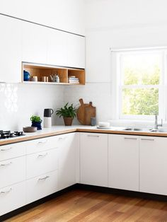 Modern Kitchen Design Cantilever — The Design Files Kitchen Dinning, Kitchen Tiles, New Kitchen, Kitchen Decor, Kitchen Cabinets, Cupboards, Upper Cabinets, White Cabinets, 1960s Kitchen