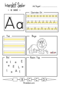 İnteraktif a sesi etkinliği Tracing Worksheets, Alphabet Worksheets, Kindergarten Worksheets, Infant Activities, Preschool Activities, Teaching Kids, Kids Learning, Turkish Lessons, Alphabet For Kids
